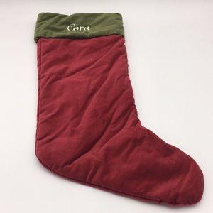 """Pottery Barn Velvet 24"""" Christmas Stocking """"Cora"""""""
